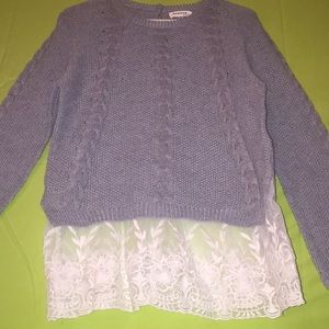 Gray lacy sweater